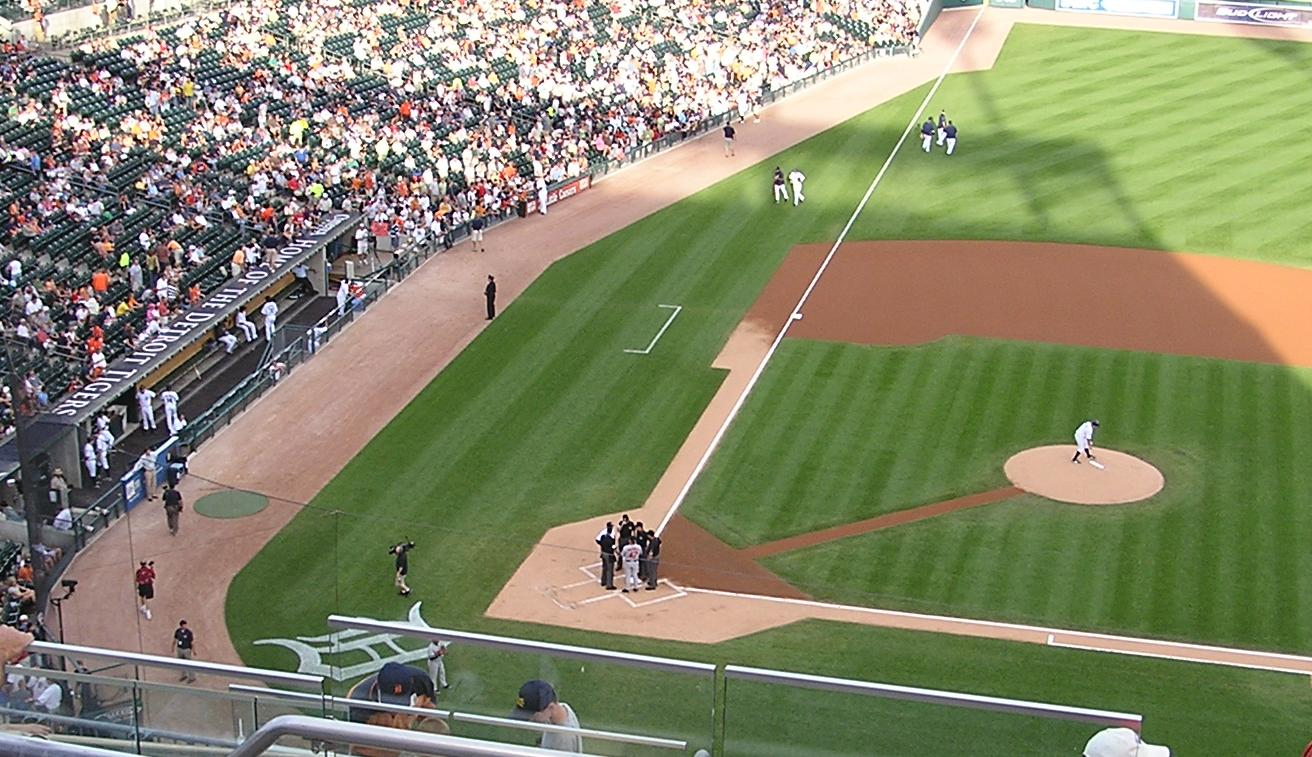 Exchanging the Line ups- Comerica Park
