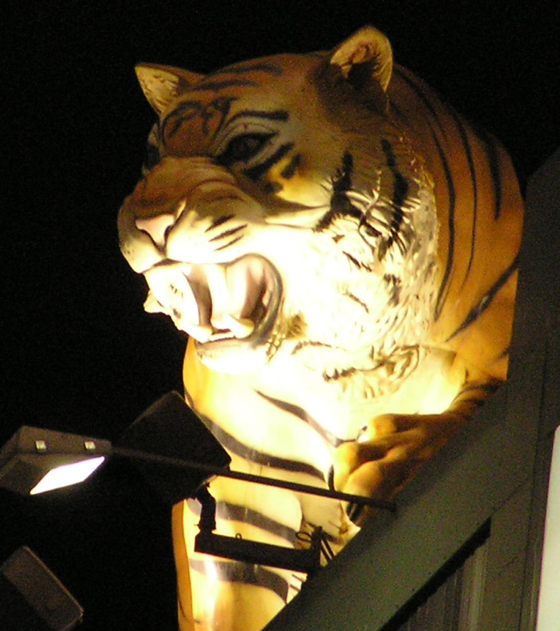 The Tiger on top of the board - Comerica Park